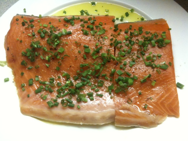 Salmon, Olive Oil, and Herbs From the Garden