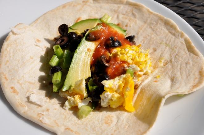 Egg Tacos W/Avocado, Green Onions and Salsa