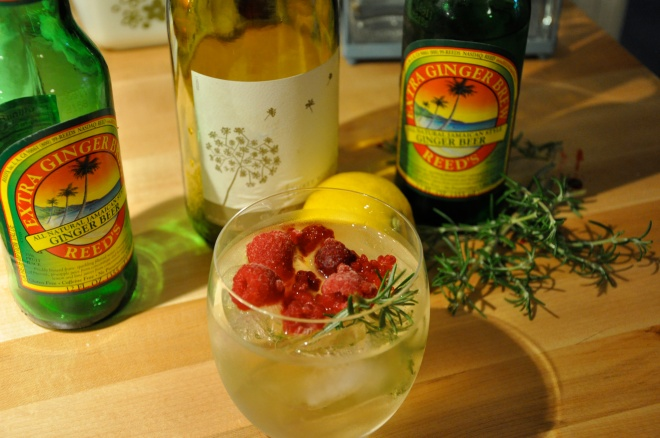 White Wine & GInger Beer Cocktail, With Rosemary & Raspberries