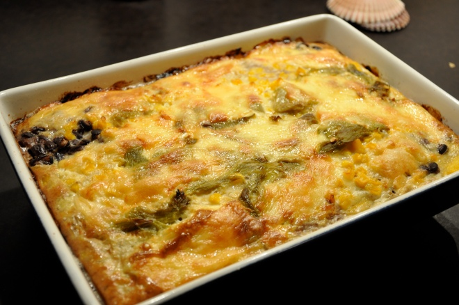 Polenta and Hatch Chile Casserole