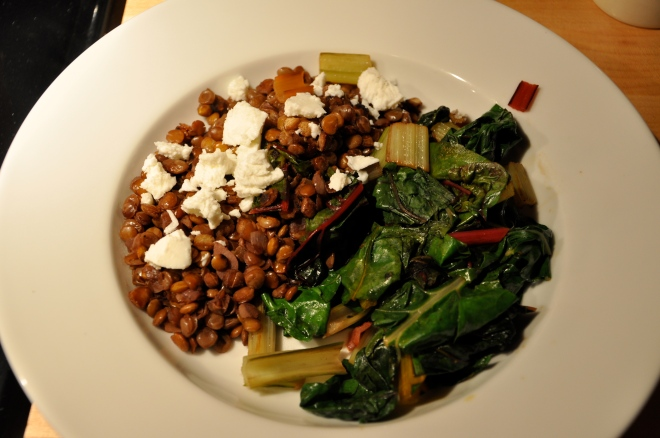 Red Wine Lentils & Feta with Swiss Chard