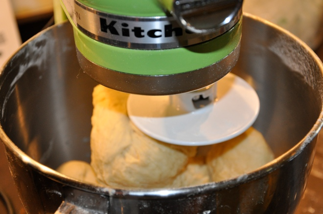 mixing the challah