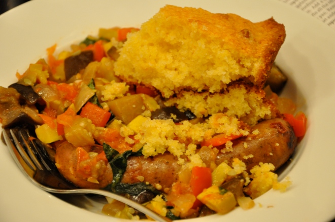 Ratatouille, Corn Bread and Sausage