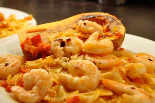 Spicy Garlic Prawns & Roasted Butternut Squash