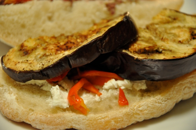 Roasted Eggplant, Bell Pepper and Feta on Ciabatta