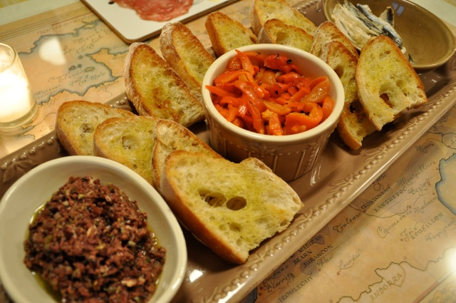 Tapenade, Roasted Red Pepers, and Crostini