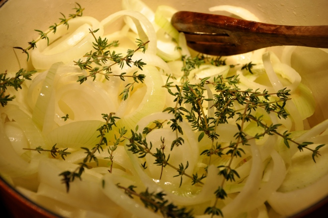 Caramelizing Onions and Thyme