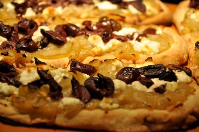Amazing Appetizer: Caramelized Onion, Goat Cheese & Nicoise On Flatbread