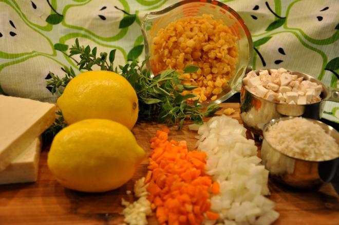 Red Lentils, Lemon, Tofu, Carrots, Onions, Etc.