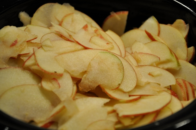 Sliced Apples in the Crockpot