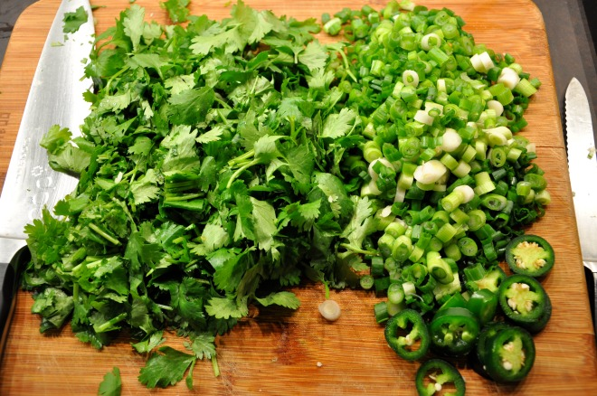 Chopped Cilantro, Chile and Green Onions