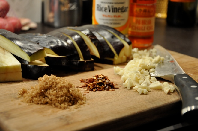 Eggplant, Garlic, Chile Flakes, Rice Wine Vinegar & Chili Oil