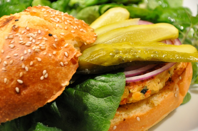 Lentil Burgers on Macrina Brioche Buns