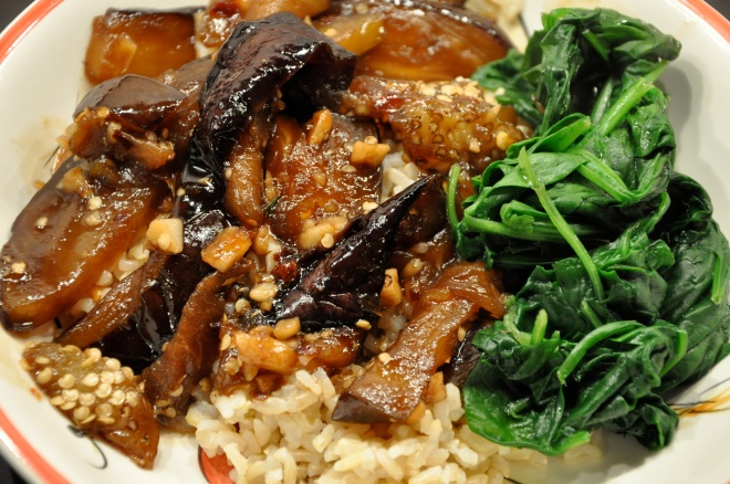 Sweet & Spicy Eggplant Over Rice with Spinach
