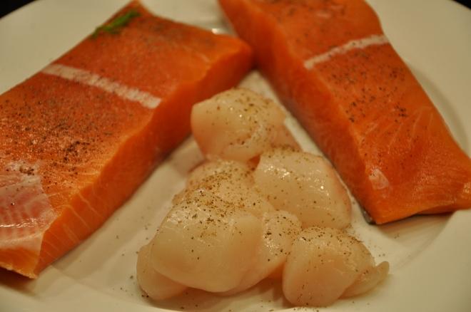 King Salmon and Scallops