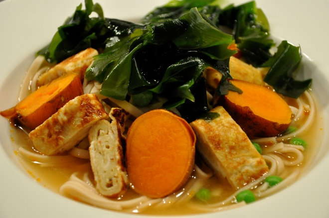 Miso Udon Noodle Soup with Tamago, Wakame & Sweet Potatoes