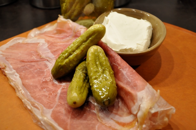 Prosciutto, homemade pickles and cream cheese - unwrapped