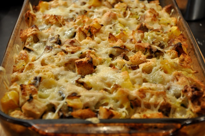 Thanksgiving Butternut Squash & Wild Mushroom Bread Pudding