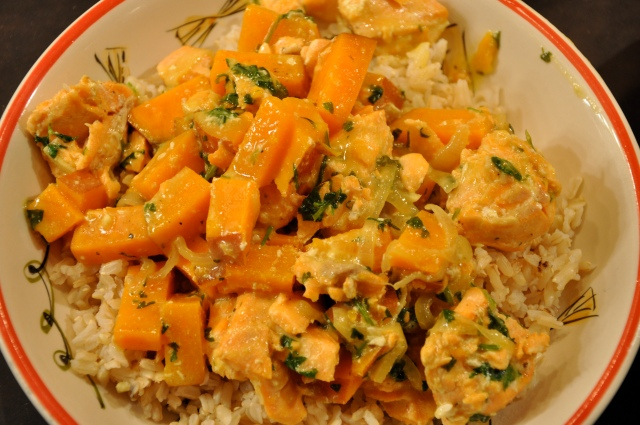 Sweet Potato and Salmon in a Coconut Curry Broth