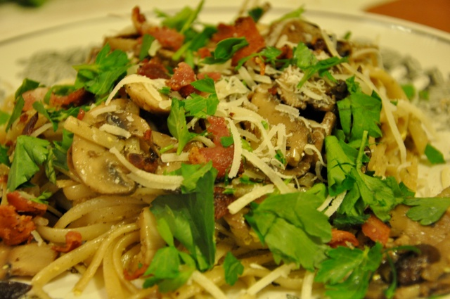 Carbonara with Bacon, Mushrooms and Flat Leaf Parsley