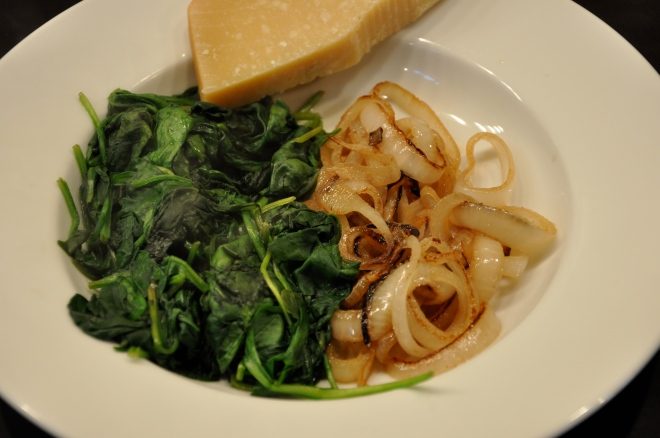 Spinach, Caramelized Onions and Parmesan