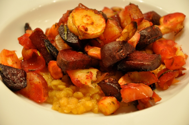Roasted Root Vegetables With Red Lentils