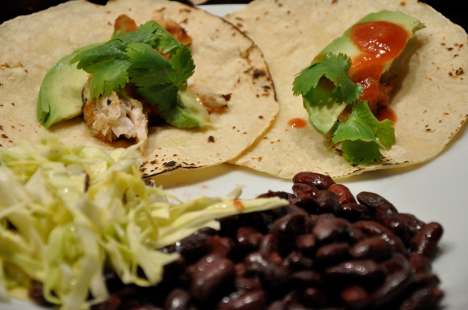 Mahi Mahi Fish Tacos with Red Beans and Coleslaw