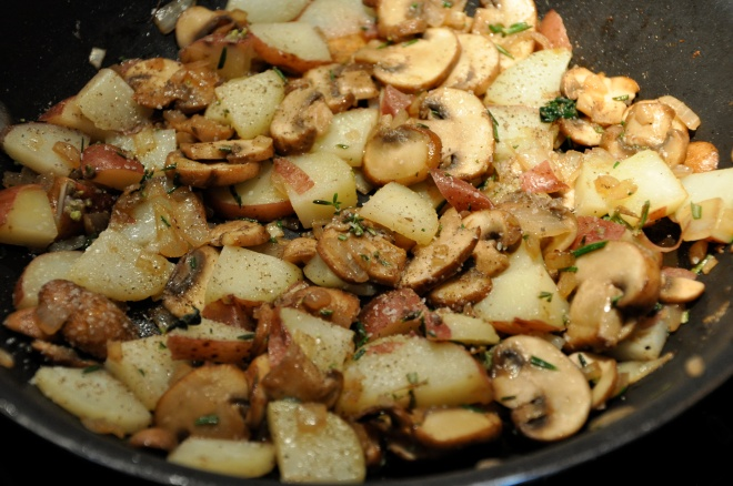Sautee the onions, mushrooms & potatoes