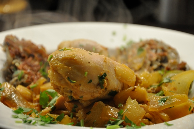 Chicken and onion tagine with olives and lemon