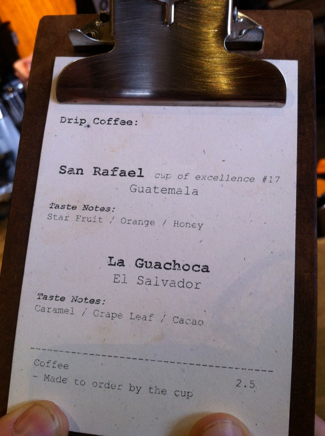 Coava Coffee Menu