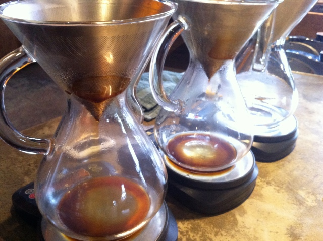 Timing the Coffee Pour at Coava Coffee