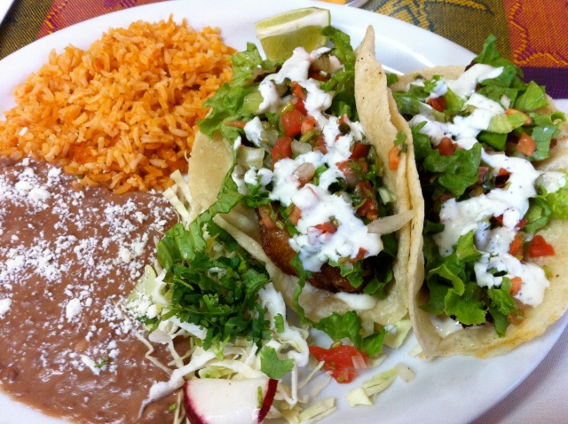 Tacos Pescados with Refried Beans and Rice
