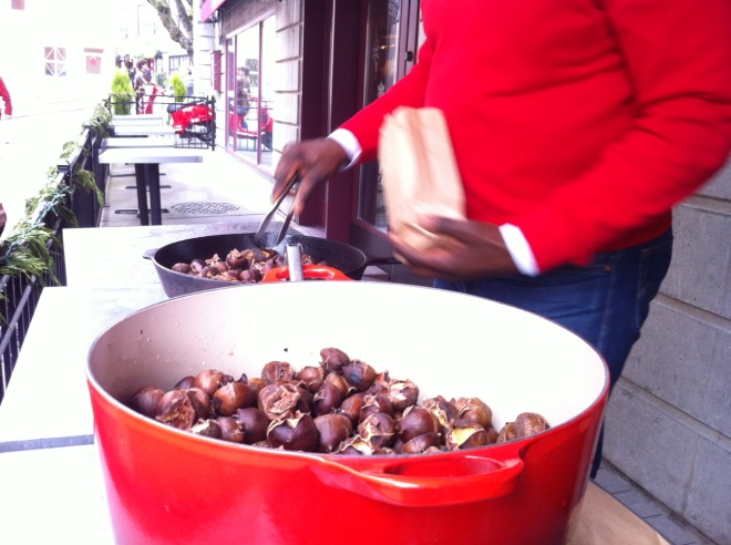 Chef Daisley roasting chestnuts at Cafe Campagne in Pike Place Market
