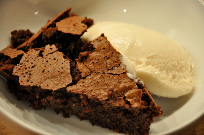 Flourless Chocolate Cake with a Dollop of Soy Ice Cream