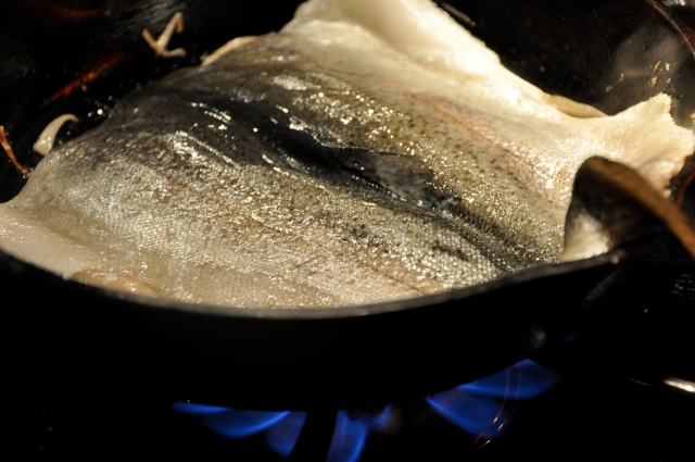 Pan Frying the Trout in a Cast Iron Pan