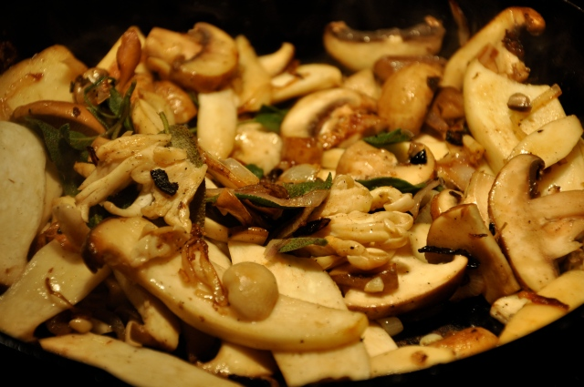 Sauteeing Mushrooms, Garlic, Sage and Shallots