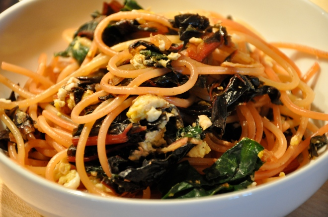 Red Chard Pasta with Egg and Balsamic