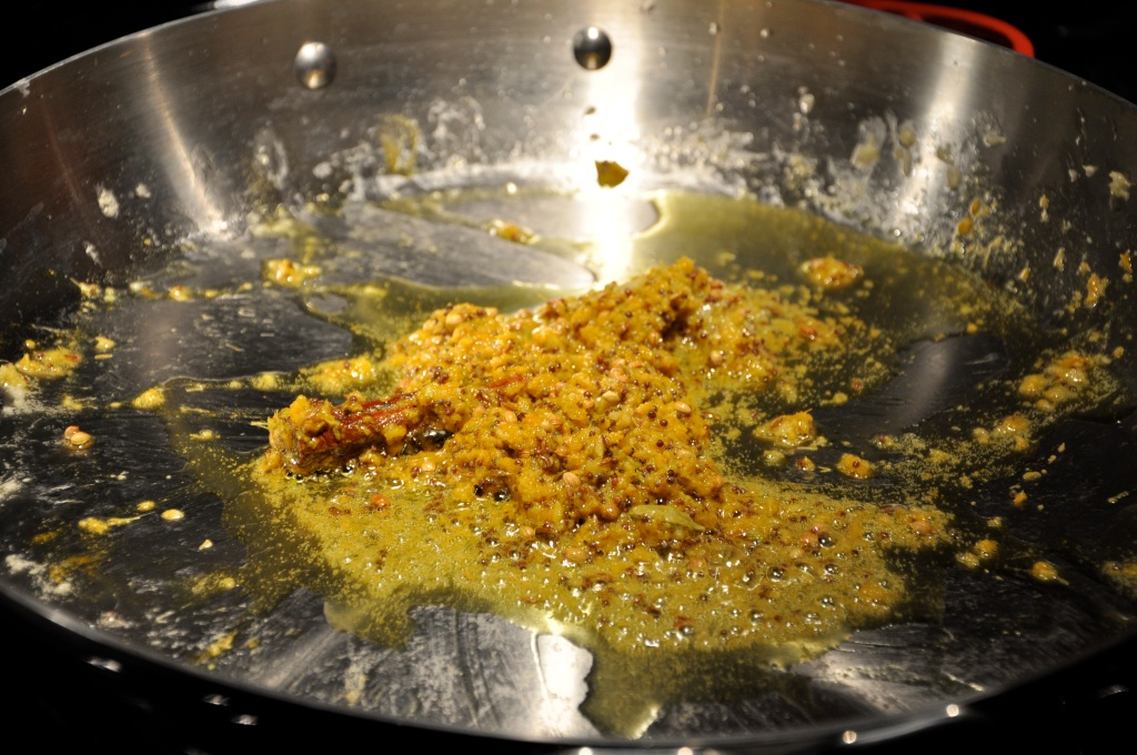 Heat Garlic, Oil & Spices in a Pretty New Skillet