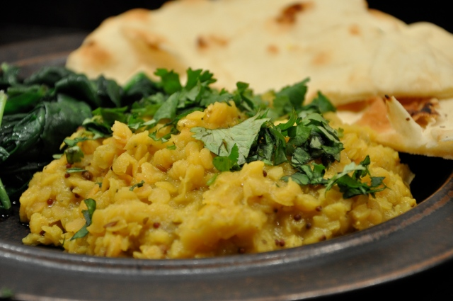 Red Lentil Dal with Greens and Naan