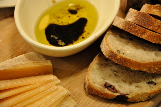 Hard Cheese, Olive Bread and Olive Oil