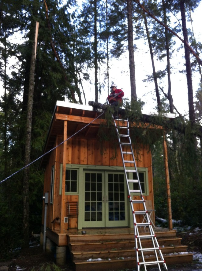On A 25 Foot Roof with a Chainsaw Seems Safe