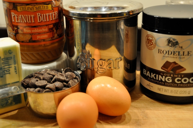 Ingredients for rich molten chocolate lava cake