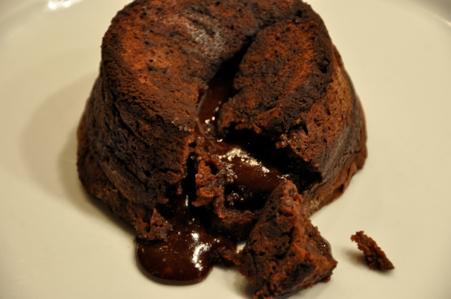 Molten Chocolate and Peanut Butter Lava Cake