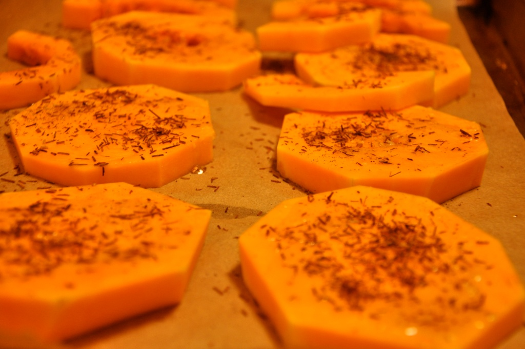 Squash Rounds Topped with Tea Butter, Salt and Pepper