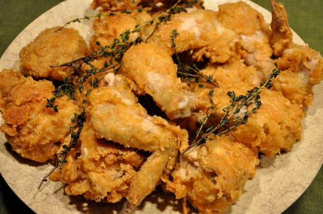 Fried Chicken with Rosemary Sprigs