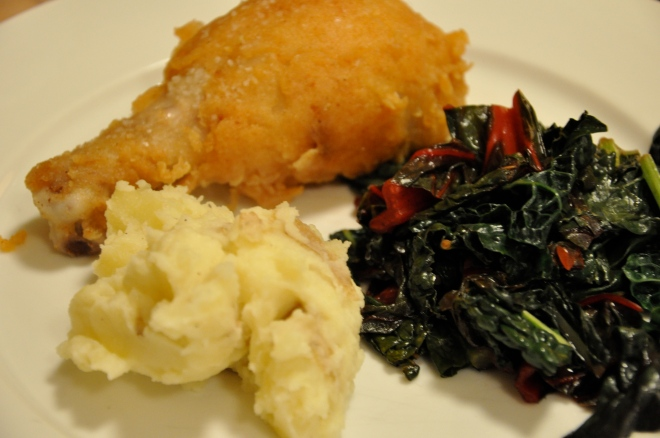 Buttermilk Fried Chicken with Greens and Black Truffle Mashed Potatoes