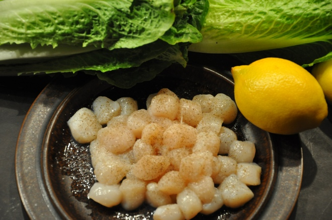 Seared Scallop & Romaine Ingredients