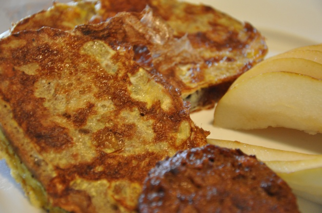 Walnut French Toast with Soysage and Pear