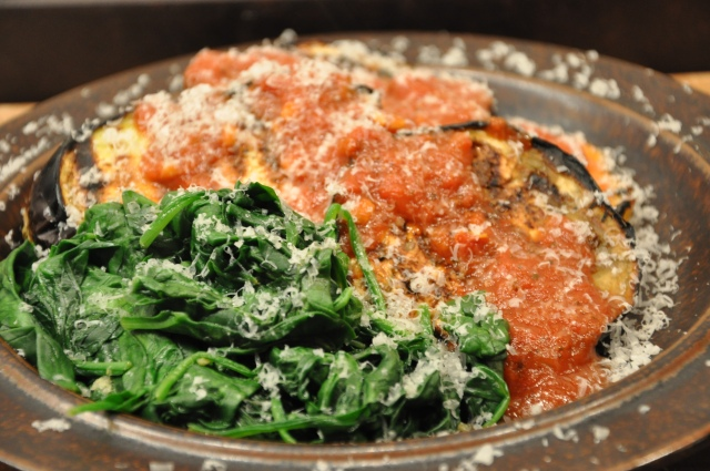 Grilled Eggplant and Polenta with Tomato Sauce and Spinach