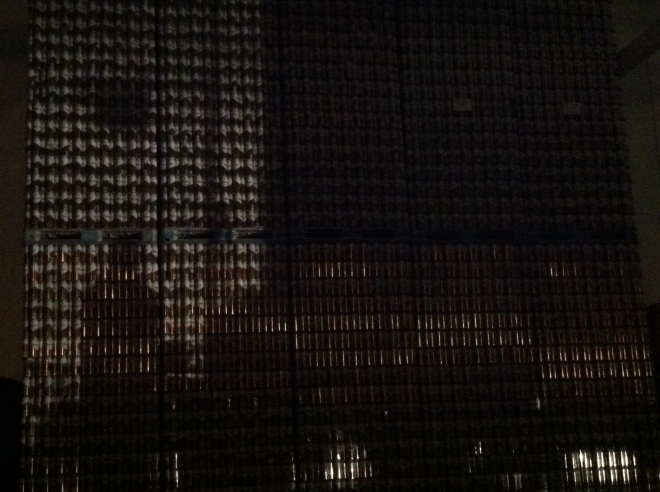 City Lights? No, Wall of Hilliard's Beer Cans